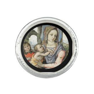 Madonna y niño con San José y un ángel Anillos