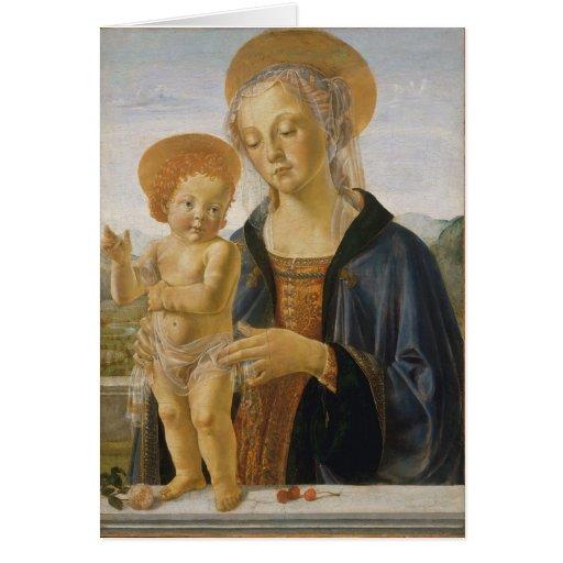 Madonna y niño de Andrea del Verrocchio Tarjetón