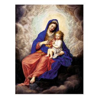 Madonna y niño en gloria postal