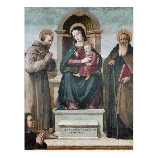 Madonna y niño Enthroned con los santos Postal
