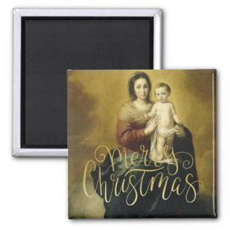 Madonna y niño, imanes del navidad de la bella imán