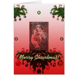 Madonna y niño [navidad] tarjeta de felicitación