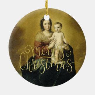 Madonna y niño, ornamento del navidad de la bella adorno navideño redondo de cerámica