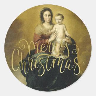 Madonna y niño, pegatina del navidad de la bella