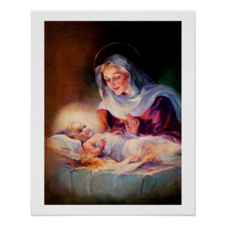 Madonna y niño. Poster de la bella arte