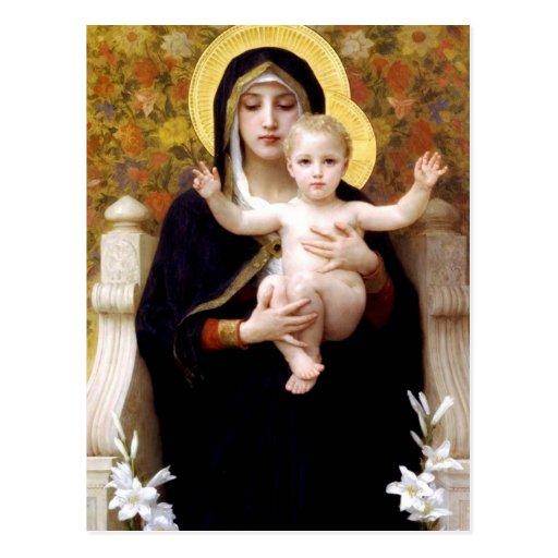 Madonna y niño postal
