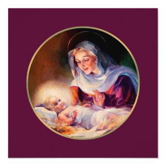 Madonna y niño. Tarjetas de Navidad religiosas Invitación 13,3 Cm X 13,3cm
