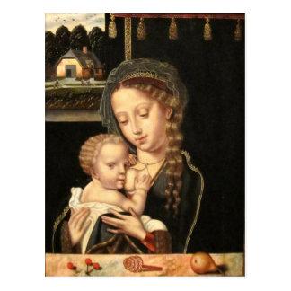 Madonna y oficio de enfermera del niño postal