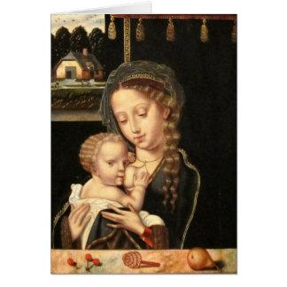 Madonna y oficio de enfermera del niño tarjeta