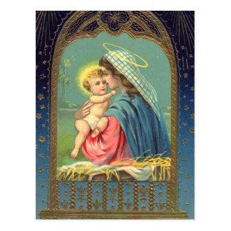 Madonna y postal del día de fiesta del navidad del
