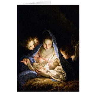 Madonna y tarjeta de Navidad del vintage del niño