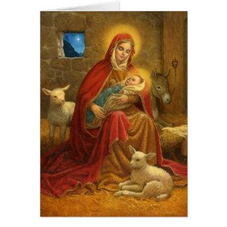 Madonna y tarjeta de Navidad religiosa del niño