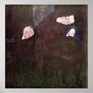 Madre con los niños de Gustavo Klimt Póster