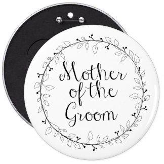 Madre de la etiqueta nupcial del nombre del fiesta chapa redonda de 15 cm