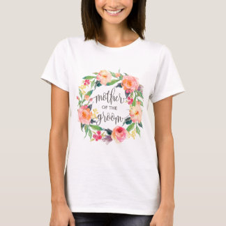 madre de la guirnalda floral -3 del novio camiseta