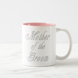 Madre de los grises con clase del novio taza de café de dos colores