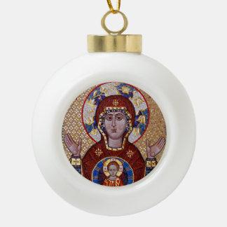 Madre de Oranta del ornamento del navidad del Adorno De Cerámica En Forma De Bola