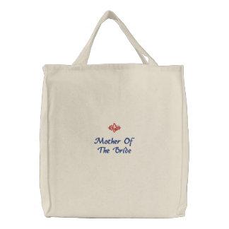 Madre del bolso bordado boda de la novia bolsa de lienzo