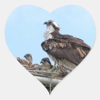 Madre del halcón de Osprey y pegatinas de los Pegatina En Forma De Corazón