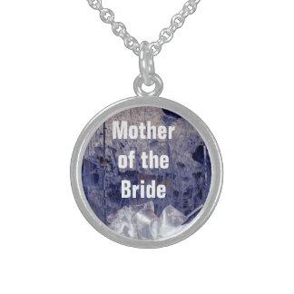Madre del regalo azul rústico de la novia collar de plata de ley