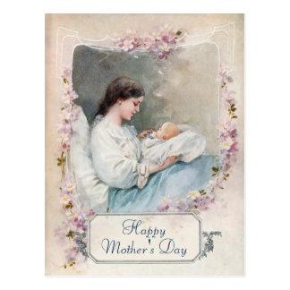 Madre del vintage y recién nacido adaptables postal