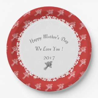 Madre-Día--Anniversary-Template_Red-White Plato De Papel