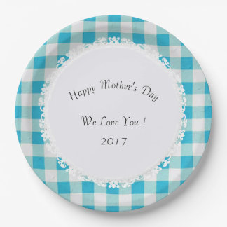 Madre-Día-Celebre--Blue-Buffalo-Check_Lace Plato De Papel