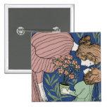 Madre e hija - arte Nouveau Chapa Cuadrada 5 Cm