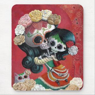 Madre e hija de Dia de Los Muertos Skeletons Alfombrillas De Ratones