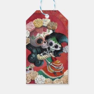 Madre e hija de Dia de Los Muertos Skeletons Etiquetas Para Regalos