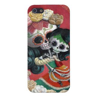 Madre e hija de Dia de Los Muertos Skeletons iPhone 5 Protectores