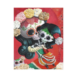 Madre e hija de Dia de Los Muertos Skeletons Impresiones En Lienzo Estiradas