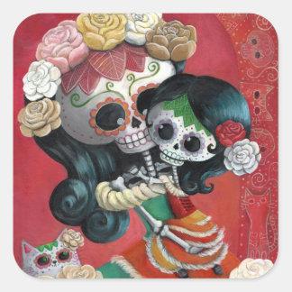 Madre e hija de Dia de Los Muertos Skeletons Pegatina Cuadrada
