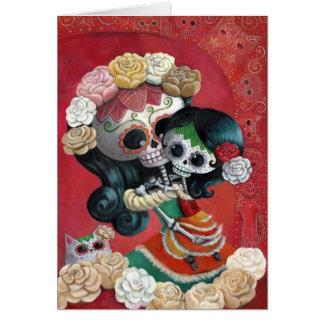 Madre e hija de Dia de Los Muertos Skeletons Felicitaciones