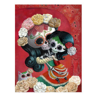 Madre e hija de Dia de Los Muertos Skeletons Tarjetas Postales