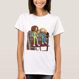 Madre e hija del dibujo animado en una noria camiseta