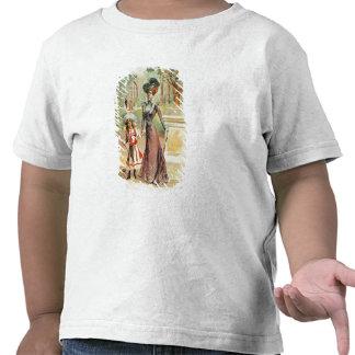 Madre e hija en un paseo (litho del color) camisetas
