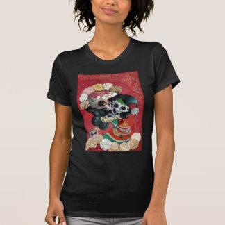 Madre e hija esqueléticas mexicanas camisetas