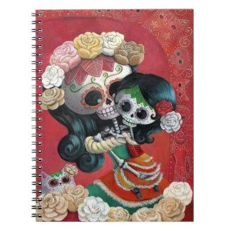 Madre e hija esqueléticas mexicanas cuaderno