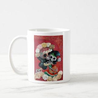 Madre e hija esqueléticas mexicanas taza