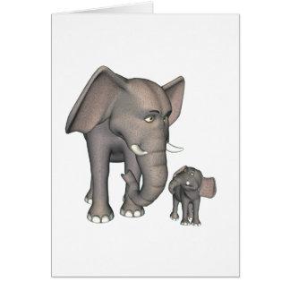 Madre e hijo del elefante del dibujo animado tarjeta de felicitación