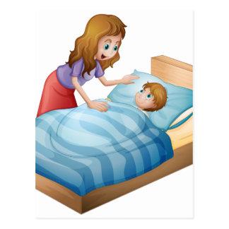 madre e hijo postal