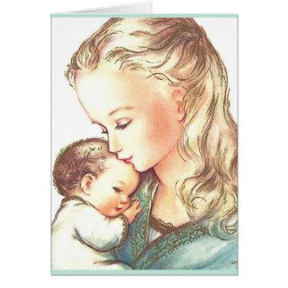 Madre Maria y bebé Jesús - tarjetas de nota del