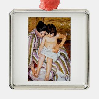 Madre que baña arte del baño del niño de Mary Adorno Cuadrado Plateado