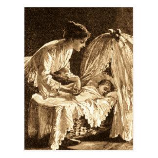 Madre y bebé del vintage postal