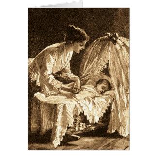 Madre y bebé del vintage tarjeta de felicitación