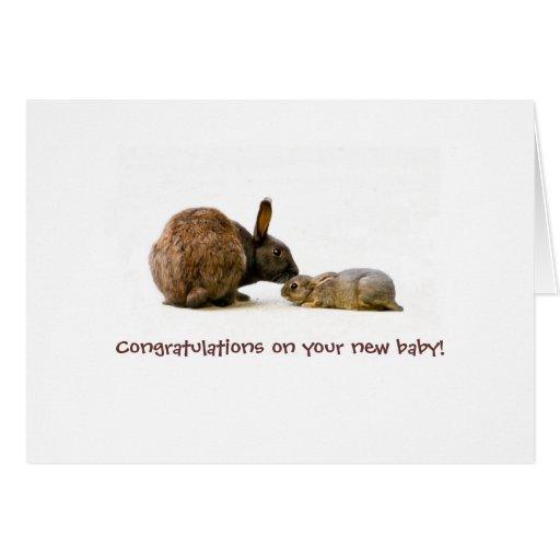 Madre y bebé - nueva tarjeta del conejito del bebé