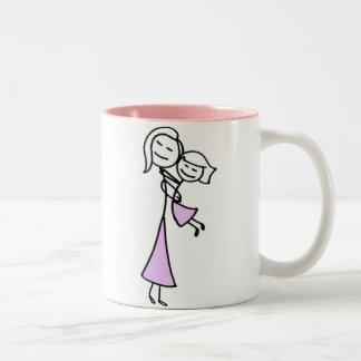 Madre y hija amadas taza de café de dos colores