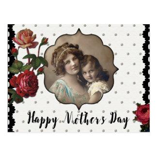 Madre y niño del estilo del vintage con los rosas postal