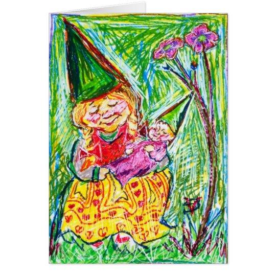 Madre y niño del gnomo tarjeta de felicitación